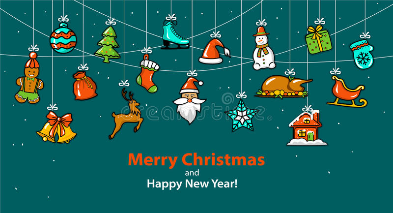 有五颜六色的装饰项目的圣诞快乐和新年快乐季节性冬天垂悬的绳索诗歌选 库存例证