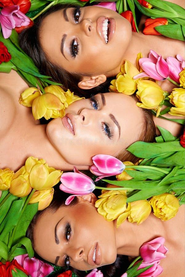 有五颜六色的郁金香的三名美丽的肉欲的妇女 免版税库存照片