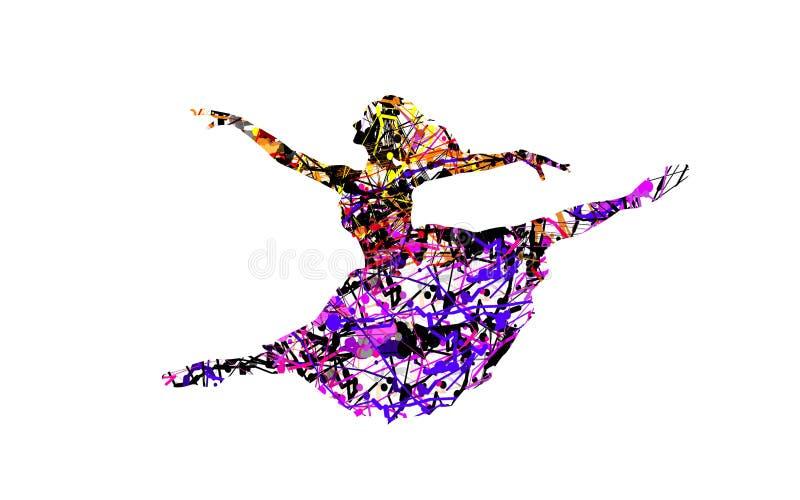 有五颜六色的飞溅的作用的愉快的舞蹈家 库存图片