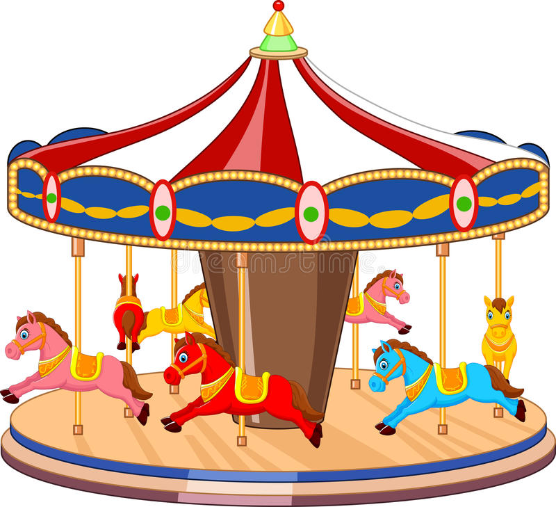 有五颜六色的马的动画片转盘 向量例证