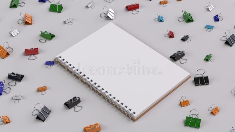 有五颜六色的黏合剂的空白的螺纹笔记本在白色桌上截去 向量例证