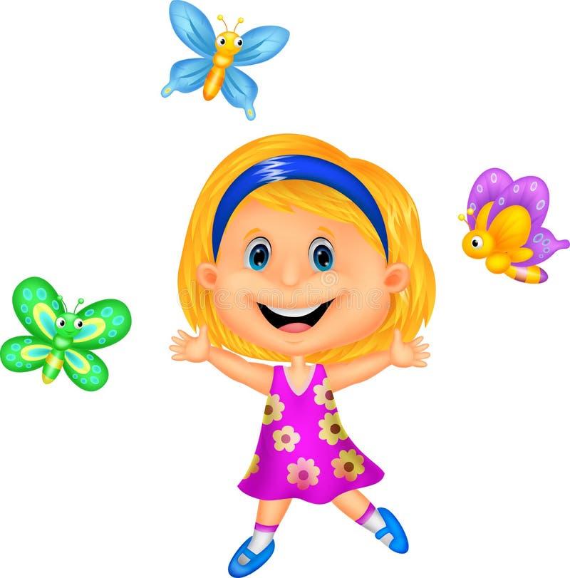 有五颜六色的蝴蝶的愉快的小女孩 库存例证
