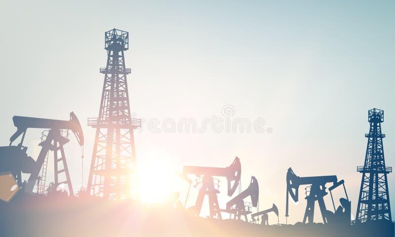 有井架的在天空蔚蓝背景的油田和pumpd 库存例证