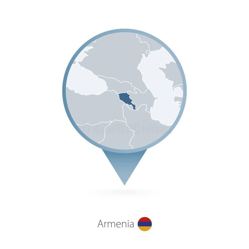 有亚美尼亚和邻国详细的地图的地图别针  向量例证