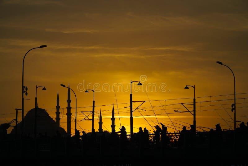 有些钓鱼者剪影和加拉塔桥梁的Suleymaniye清真寺 免版税库存照片