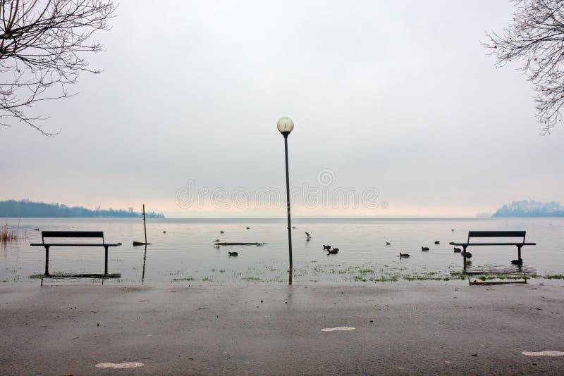 有些长凳在公园,由湖,由水淹没  免版税库存照片