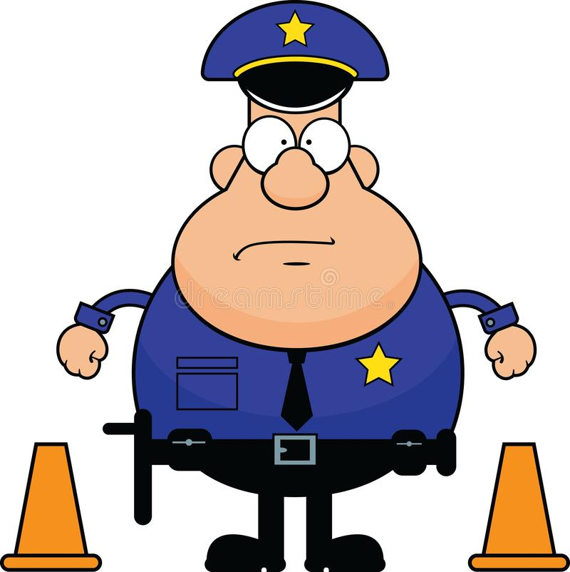 有交通锥体的动画片警察 皇族释放例证