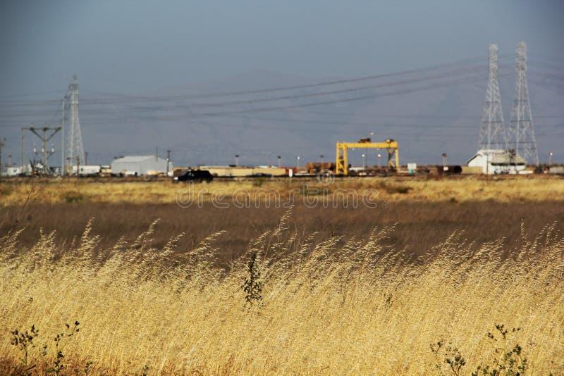 有产业的盐沼在背景中 免版税库存照片