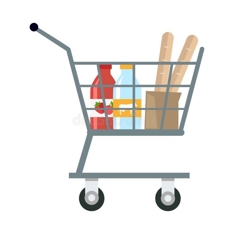 有产品的购物车 向量例证