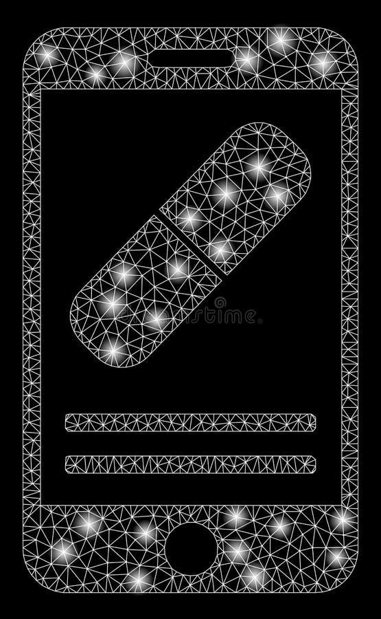 有亮点的发光的网状网络流动药房 库存例证