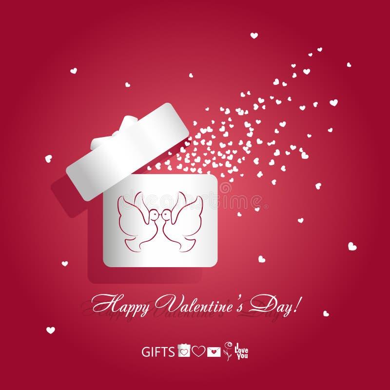有亲吻的对的华伦泰` s天概念例证开放白色礼物盒鸟鸽子和飞行的心脏在红色backg 库存例证