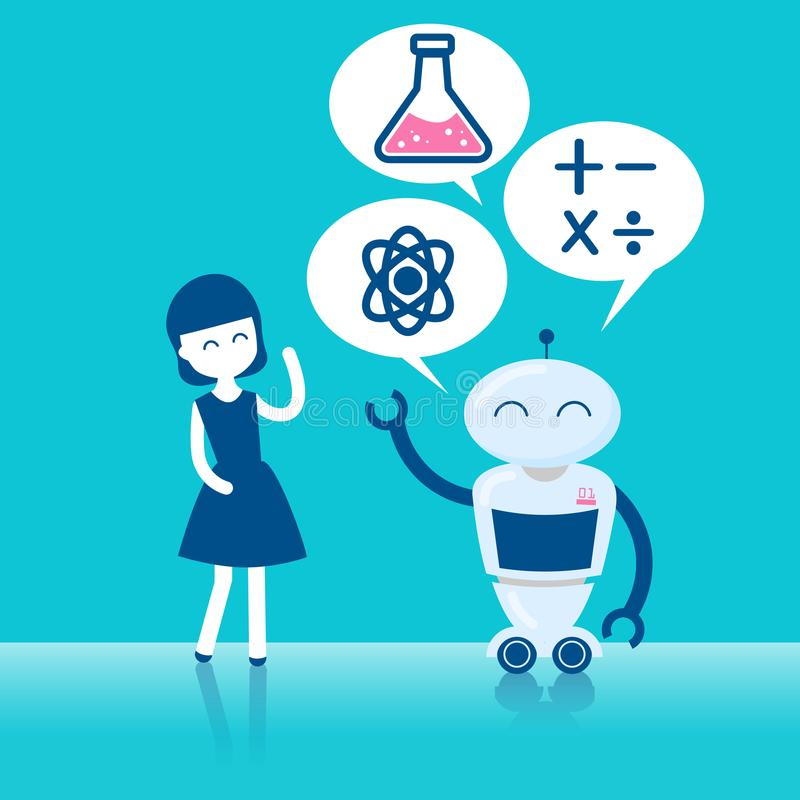 有人工智能的女孩 库存例证