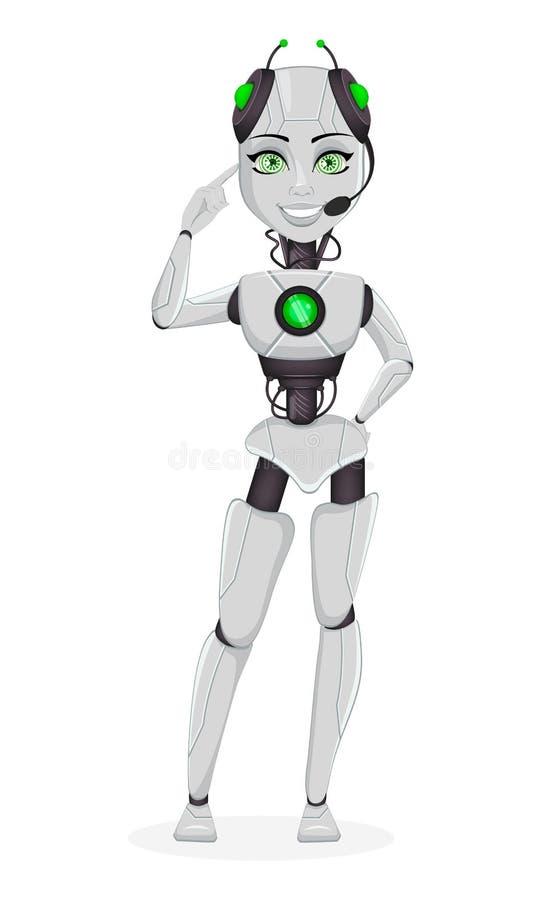有人工智能的机器人,女性马胃蝇蛆 皇族释放例证