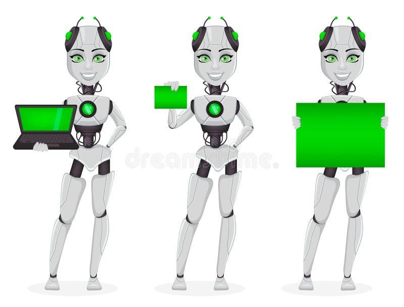 有人工智能的机器人,女性马胃蝇蛆 库存例证