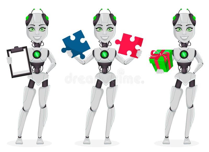 有人工智能的机器人,女性马胃蝇蛆 向量例证