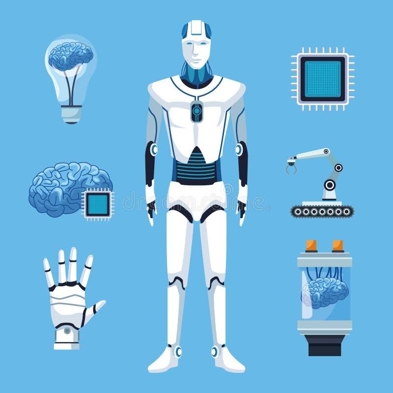 有人工智能的机器人 向量例证