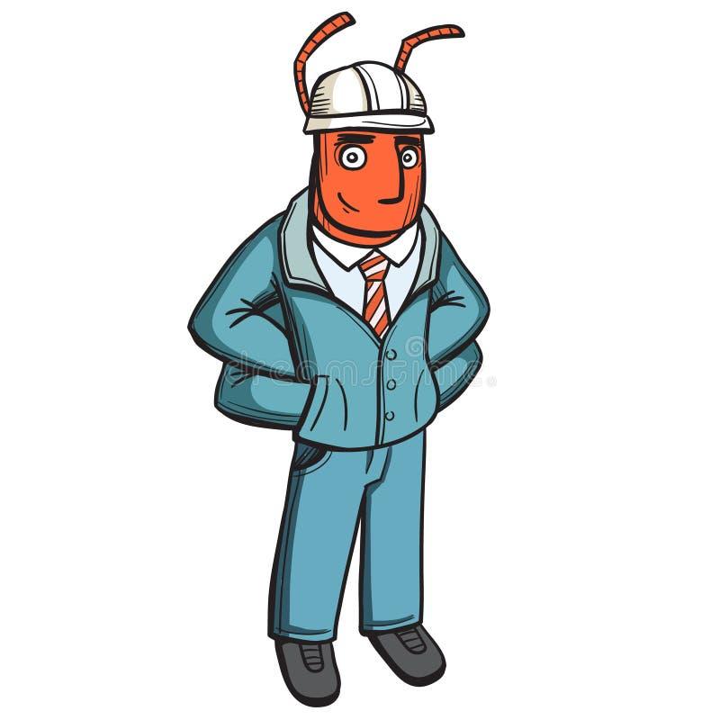 有人形被赋予人性的蚂蚁建造者工头 手拉的被绘的字符,传染媒介 向量例证