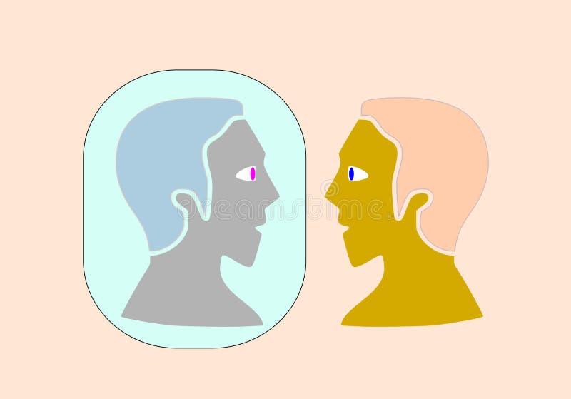 有人格分裂的一个人在镜子看见自己 皇族释放例证