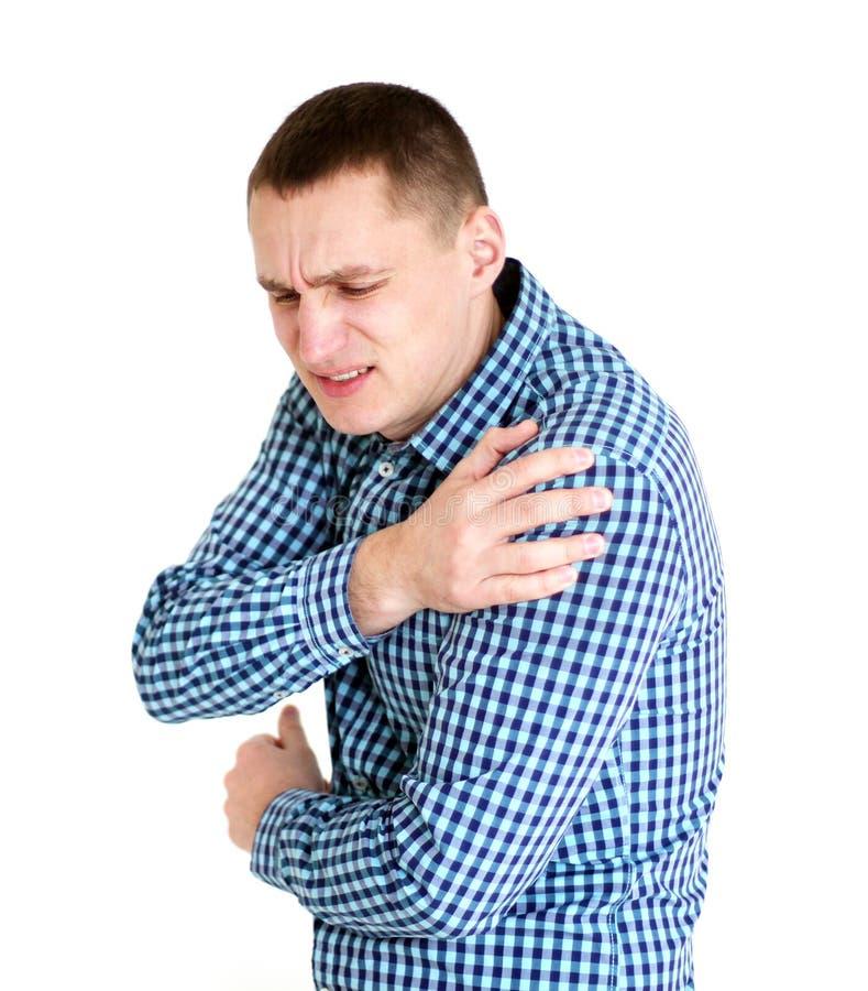 有人痛苦肩膀年轻人 查出在白色 图库摄影