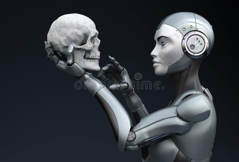 有人的头骨的机器人在他的手上 皇族释放例证