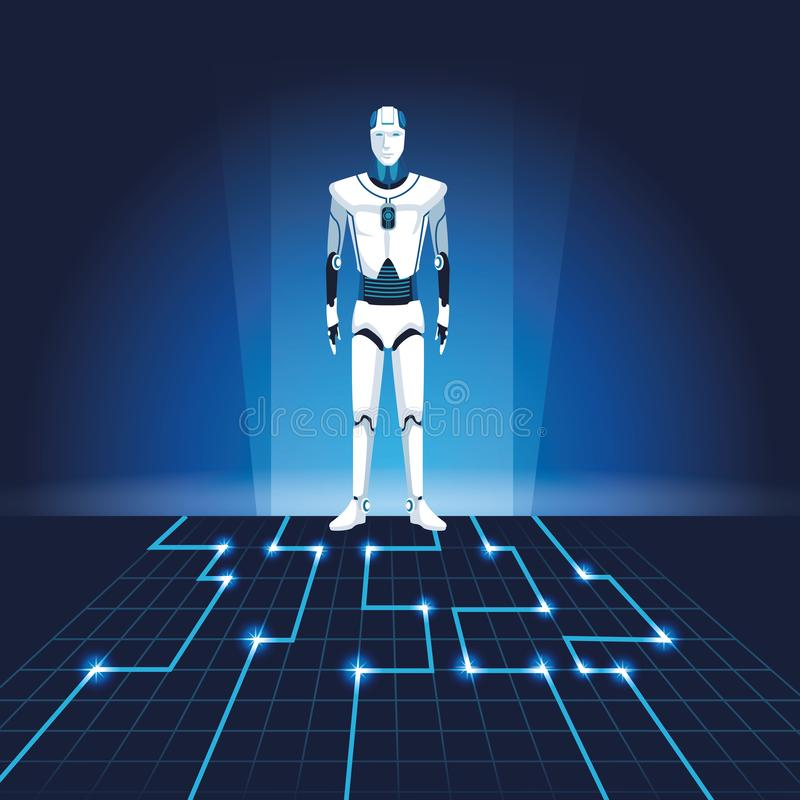 有人的特点的机器人具体化 向量例证