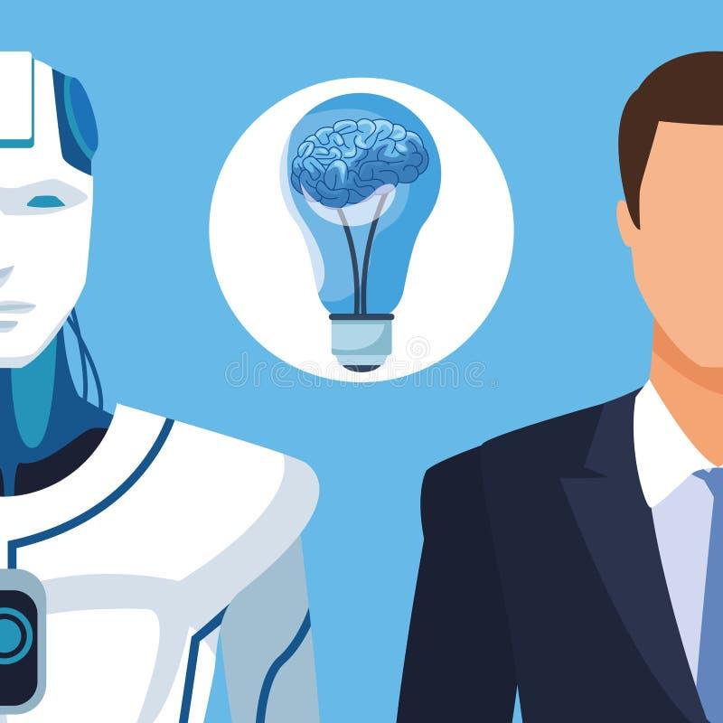 有人的特点的机器人和商人 向量例证