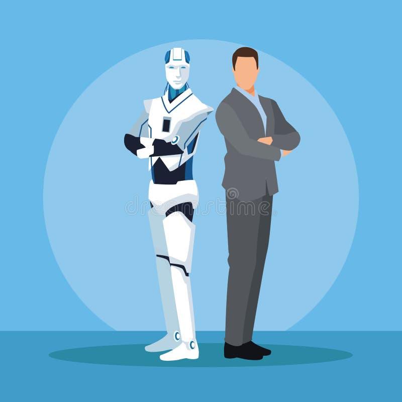 有人的特点的机器人和商人 库存例证
