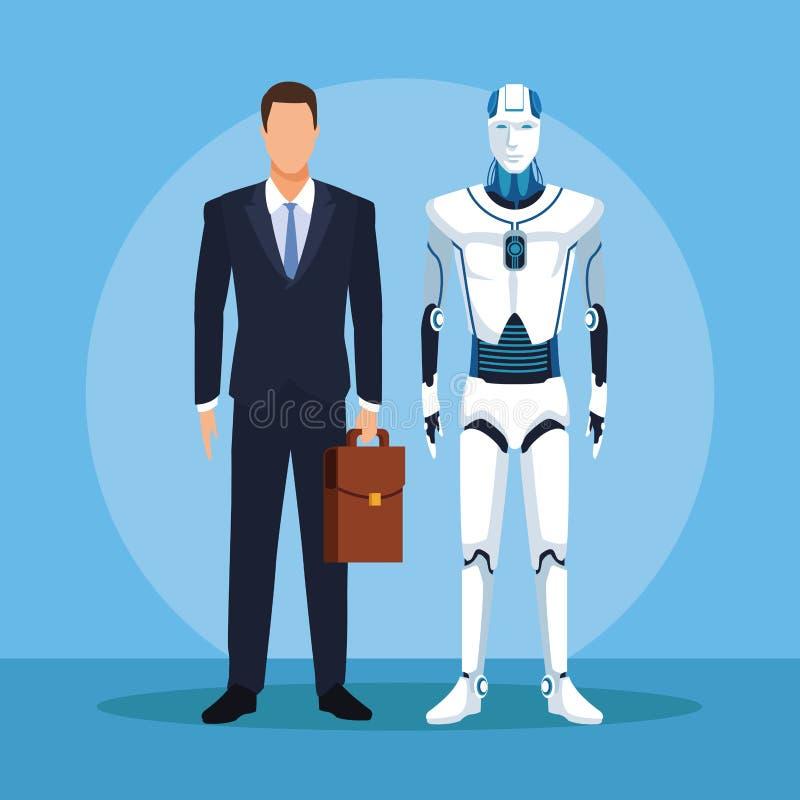 有人的特点的机器人和商人 皇族释放例证