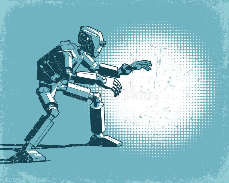 有人的特点的机器人和斑点轻的葡萄酒减速火箭的海报 库存例证