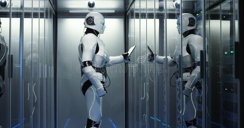 有人的特点的机器人在数据中心的检查服务器 向量例证
