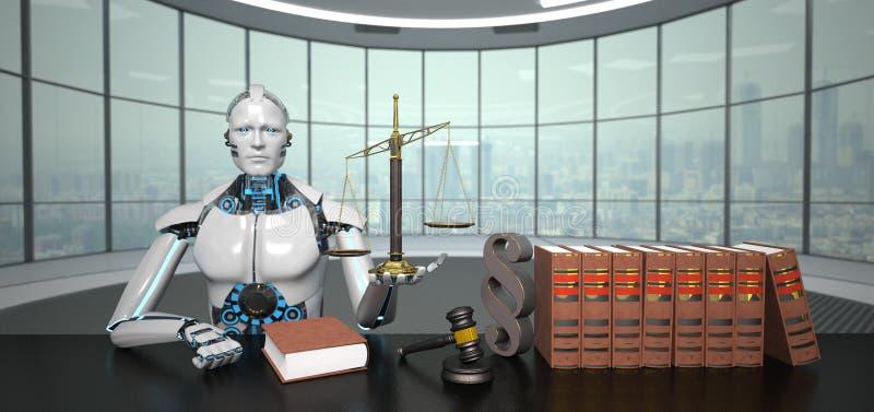 有人的特点的机器人律师 皇族释放例证