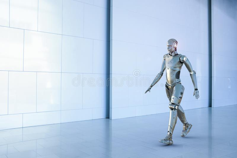 有人的特点的机器人步行 库存例证