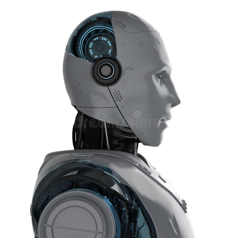 有人的特点的机器人画象 皇族释放例证