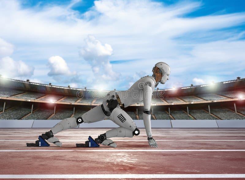 有人的特点的机器人赛跑 库存例证