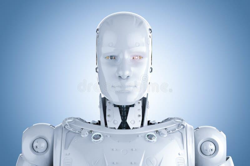 有人的特点的机器人面孔 库存例证