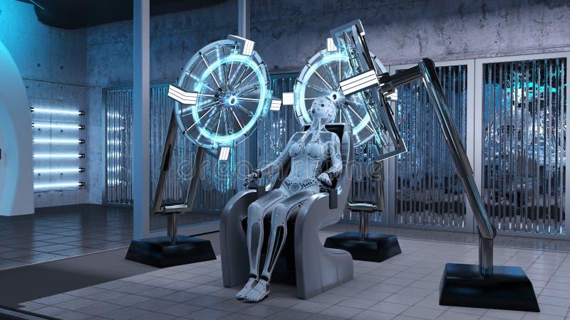 有人的特点的机器人,在一把椅子的女性机器人开会在科学幻想小说实验室,靠机械装置维持生命的人生产装配线, 3D回报 库存例证
