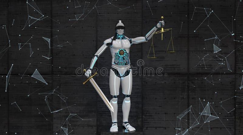 有人的特点的机器人Justitia 皇族释放例证