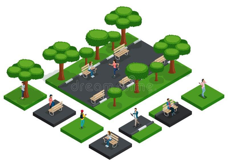 有人的等量公园,城市公园,新鲜空气 库存例证