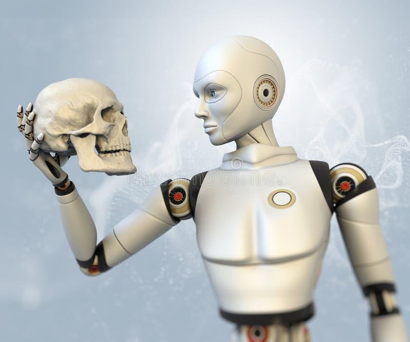 有人的头骨的靠机械装置维持生命的人 库存例证