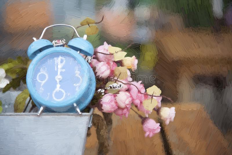 有人造花的蓝色时钟 库存例证