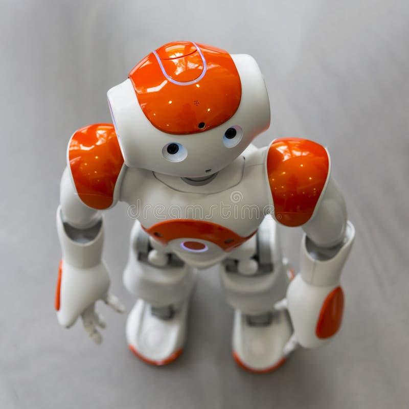 有人面和身体的小机器人 ai 库存照片