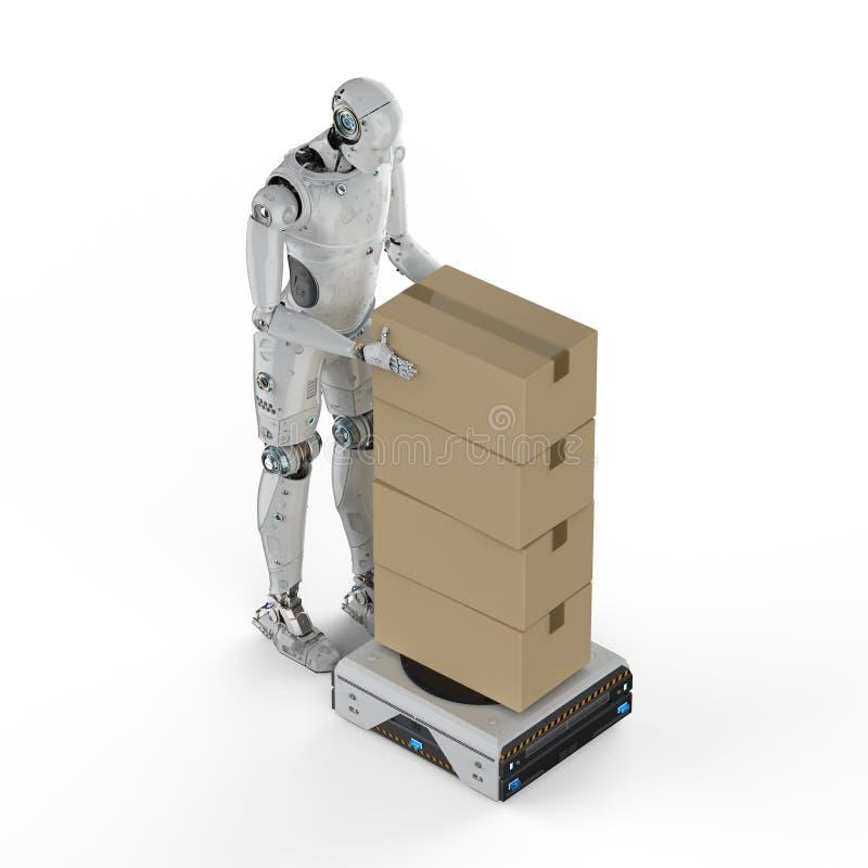 有仓库机器人的靠机械装置维持生命的人 皇族释放例证