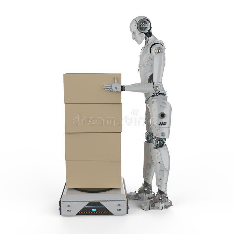 有仓库机器人的靠机械装置维持生命的人 库存例证