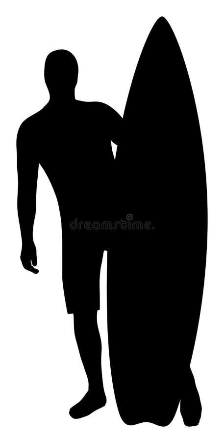 有他的冲浪板的一位男性冲浪者 皇族释放例证