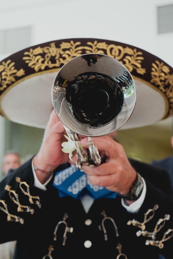 有他的喇叭的墨西哥音乐家在前景,墨西哥流浪乐队 库存图片