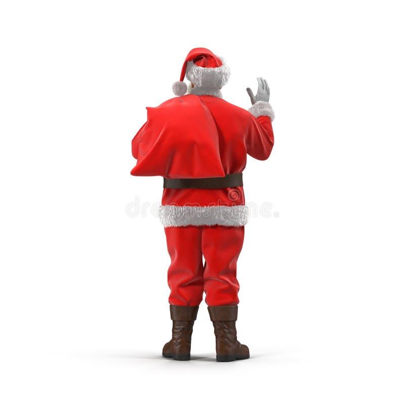 有他的圣诞老人充分大袋礼物 查出在白色 查出的背面图白色 3d例证 皇族释放例证