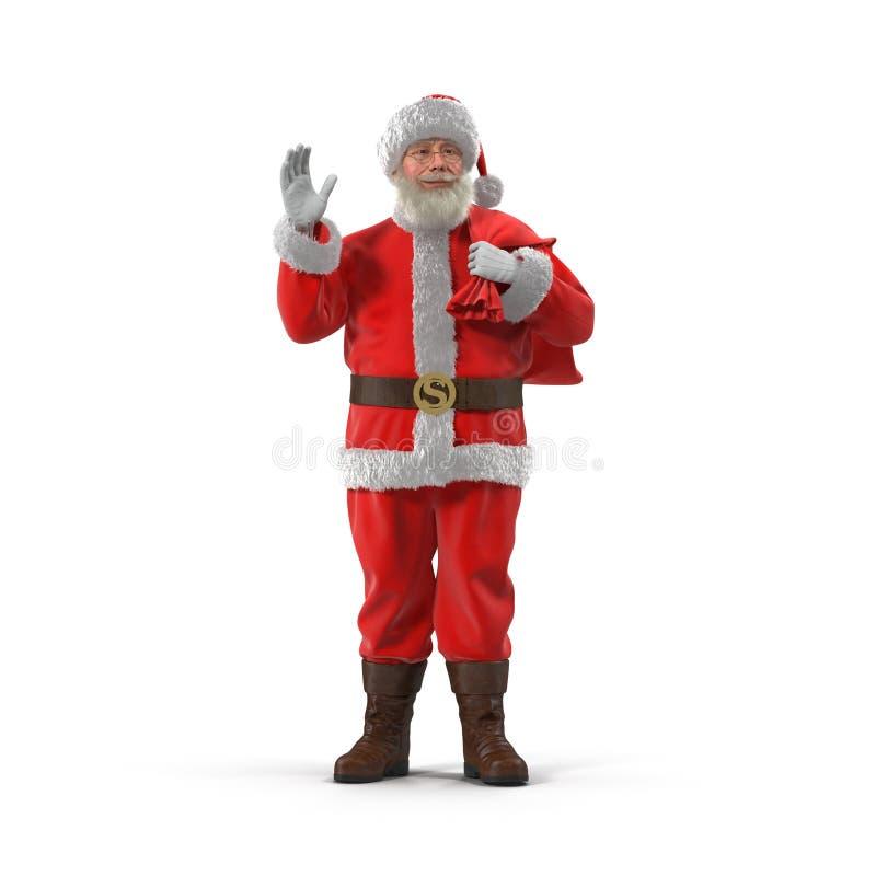 有他的圣诞老人充分大袋礼物 查出在白色 正面图 3d例证 向量例证