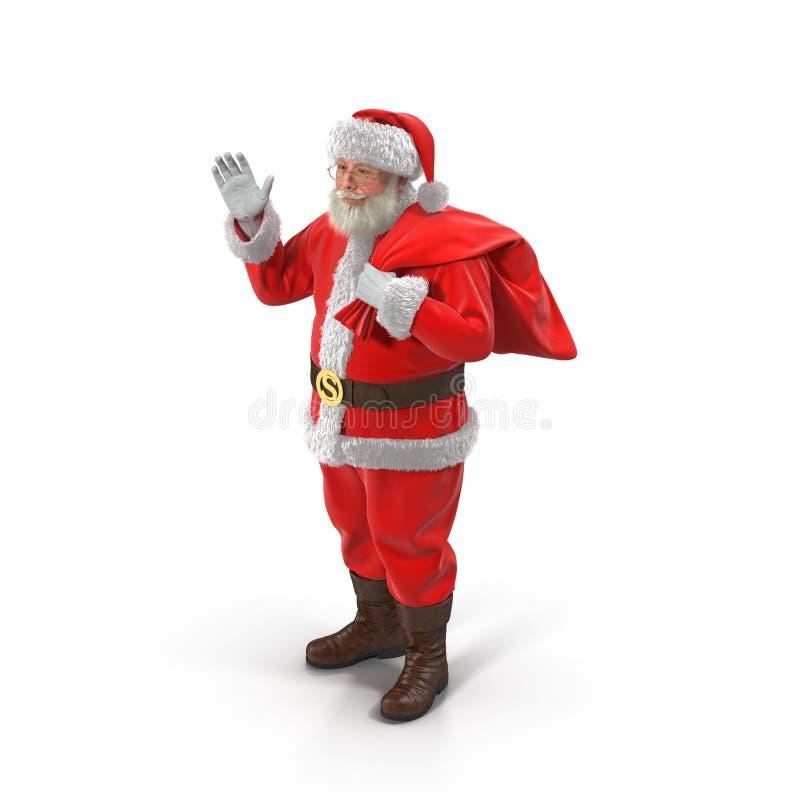 有他的圣诞老人充分大袋礼物 查出在白色 3d例证 皇族释放例证