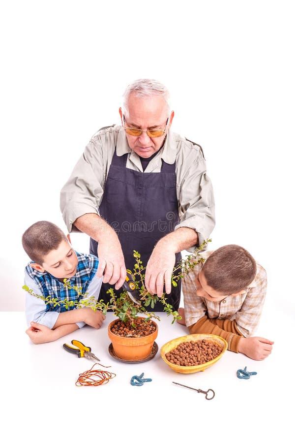 有他的孙的老人 免版税库存照片
