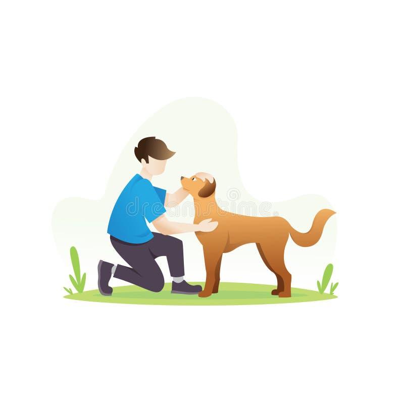 有他的狗的一个人 向量例证